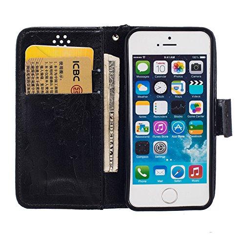 TOCASO Custodia per iPhone 6 6S Cover in pelle Protettiva Flip Cover per iPhone 6 6S Dente di Leone Snap-on Magnetico Bookstyle PU Case Protettiva Portafoglio Flip Cover con Kickstand Fuction in Porpo Nero
