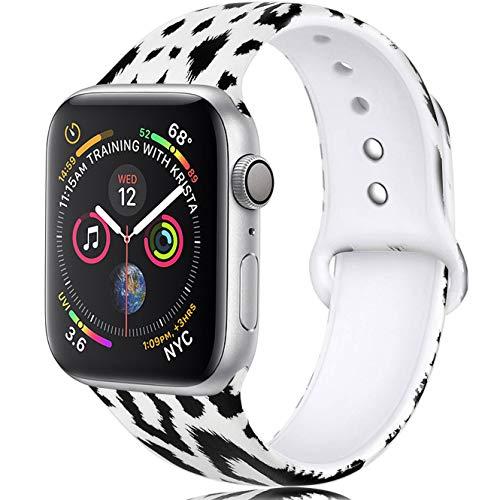 Zekapu Blumen Armband Kompatibel mit Apple Watch 38mm 42mm 40mm 44mm, Weich Silikon Ausbleichen Muster Gedruckt Ersatz Armband für iWatch Series 4, Series 3, Series 2, Series 1, Schwarz Leopard
