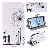 Moon mood® PU Leder Schutzhülle für HTC One M9 (5.0 Zoll) Weich TPU Innere 2 Kartenfächer Bunte Malerei Standfunktion Handytasche (Weiß Löwenzahn Paare Herz der Liebe)