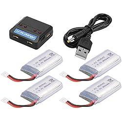 Cargador recargable de 4pcs 3.7V 850mAh + USB 4in1 de la batería para el drone Quadcopter BC687 de Syma X5 X5C X5SX RC