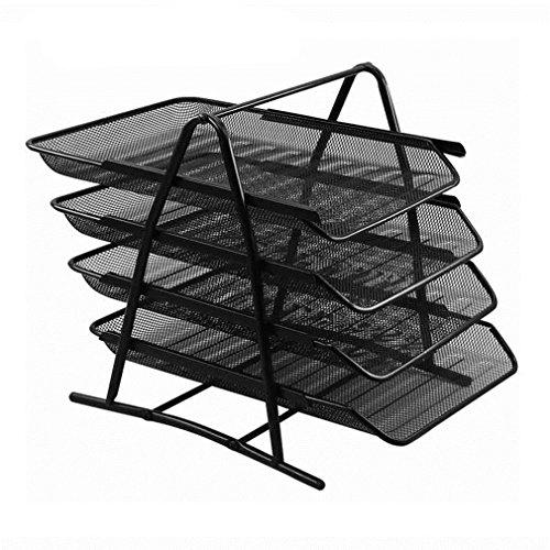 Mesh Schwarz Schreibtisch Organizer 4 Tier Brief Tray Organizer Büro Desktop Dokument Papier Datei Speicher Mesh für Haus Und Büro (35 * 28 * 31 cm) (Tray Schreibtisch-tier)