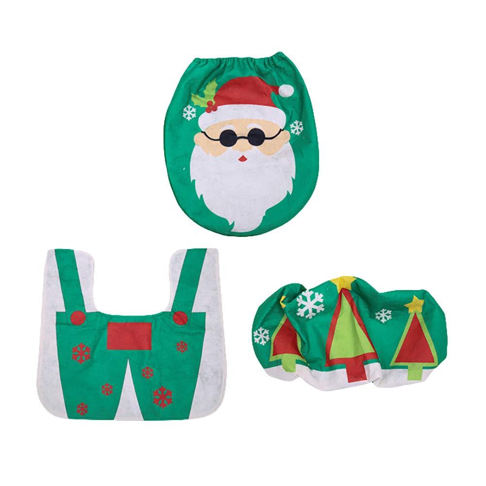Set Bagno Babbo Natale.Recoproqfje Lovely 3pcs Set Serbatoio Di Copri Water Bagno