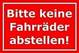 Melis Folienwerkstatt Schild - Fahrräder abstellen - 30x20cm | Bohrlöcher | 3mm Aluverbund – S00050-043-D -20 Varianten