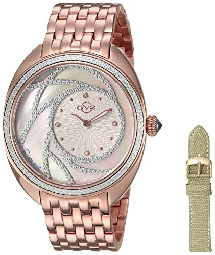 GV2by Gevril Ancona–tono de oro rosa correa de acero inoxidable reloj de cuarzo suizo de diamante, (modelo: 3701)