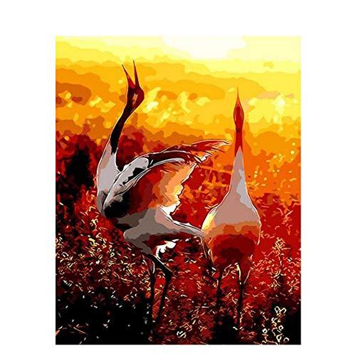 auptdekor-goldenen abstrakten Himmel-Kran-Vogel DIY Adult-Frameless malen ()