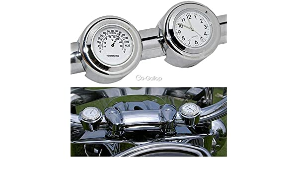 "7//8/"" 1/"" Handlebar Clock Thermometer Fit Honda VTX 1300 C R S RETRO GL 1500 1800"