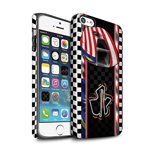 STUFF4 Glanz Harten Stoßfest Hülle / Case für Apple iPhone SE / USA/Austin Muster / F1 Piste Flagge Kollektion Malaysia