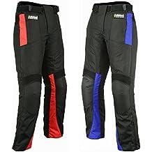 Hilbro - Pantalones de moto para hombres (impermeable, todos los tamaños), hombre, negro /rojo