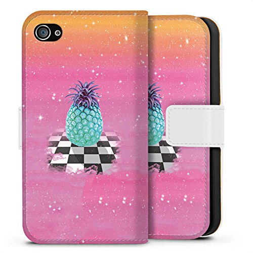 Apple iPhone X Silikon Hülle Case Schutzhülle Great Pineapple Ananas Galaxie Sideflip Tasche weiß