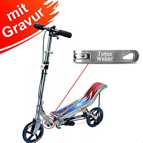 Space Scooter X 580 Silber/blau MIT Gravur - inkl. hochwertiger Namensgravur - SpaceScooter Wipproller X580 Silver Blue