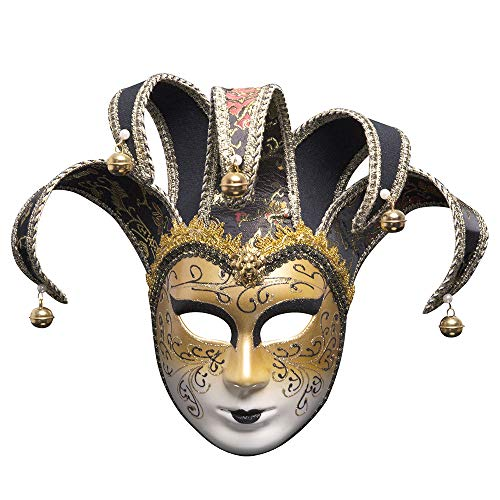 BLEVET Venezianische Joker Full Face Masquerade Glocken Mardi Gras Party Venedig Prinzessin Halloween MZ022 (Black)
