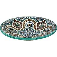 Grandi Meknes dipinta a mano marocchina Piastra in ceramica / Piatto da Fez, di 40 H 10 cm - Design multicolore