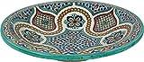Meknes - Handbemalter Teller aus Keramik mit marokkanischem / Servierplatte aus Fez, Di 40 cm mehrfarbig Design
