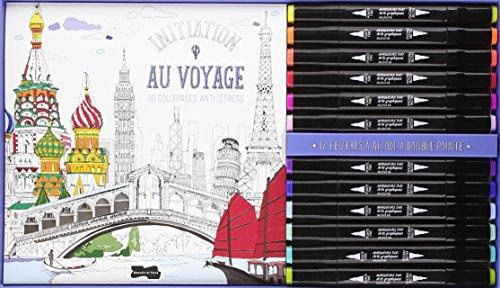 Initiation au voyage : 30 colorigaes anti-stress. Contient : 12 feutres par Dessain et Tolra