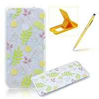 For Huawei Nova Lite Clear Case,For Huawei P8 Lite 2017 Rubber Case,Herzzer Ultra Slim [Yellow Leaves Printed] Invisible Transparent Shockproof Soft Jelly TPU Protective Back Protective Bumper Back Case for Huawei Nova Lite/P8 Lite 2017 + 1 x Free Yellow Cellphone Kickstand + 1 x Free Yellow Stylus