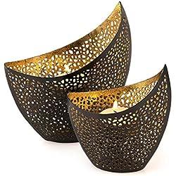 2er Set Teelichthalter Metall Gold Schwarz 11cm 14,5cm Design Kerzenhalter