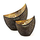 2er Set Teelichthalter Metall Gold Schwarz 11cm 14