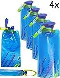 OUTDOOR SAXX® - 4x platz-sparende faltbare Trink-Flasche mit Karabiner | BPA-frei | Rucksack Fahrrad Wandern Festival Flugzeug | faltbar 700ml 4er SET