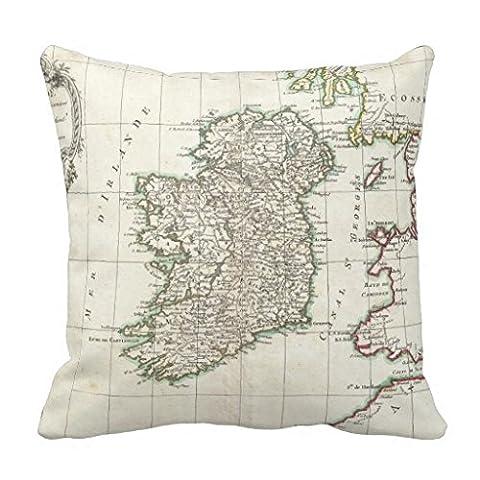 Carte du monde vintage d'Irlande 1771Taie d'oreiller
