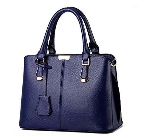 Huihuger Damen Boutique PU Leder Schulter Taschen top-handle Handtaschen Tote Handtasche Royalblau Presents Geschenke (Tote Zwei-ton-reißverschluss)