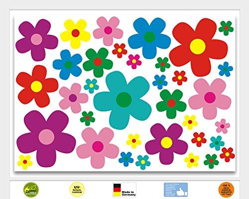 Preisvergleich Produktbild Aufkleber-Set Blumen Blümchen I mehrfarbig bunt I kfz_156 I Flower-Power Sticker für Roller Fahrrad Notebook Laptop Handy Auto-Aufkleber I wetterfest