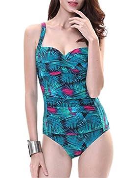 Costume da bagno delle signore Swimwear Siamese Blu Pieghe Stampa Bikini Beach Swimwear Spa Costume da bagno Bikini...