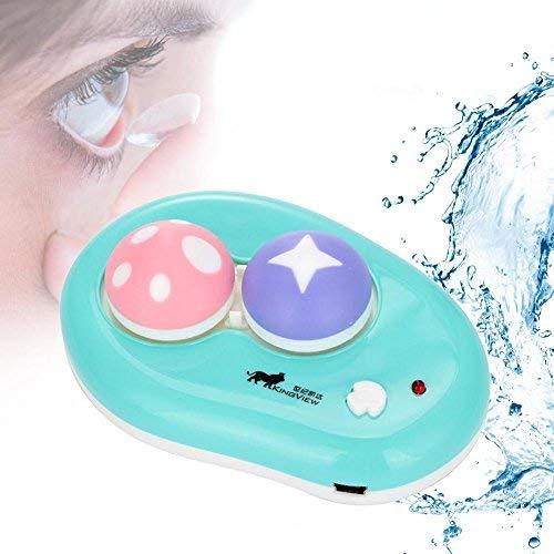 Ultraschall Linsen Reiniger, Automatische Kontaktlinse Washer Cleaner Fall Kontaktlinsenbehälter Nette Mashroom, USB Charge(Blau)