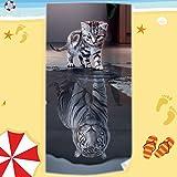 Telo mare piscina lettino coprilettino spiaggia MICROFIBRA 70x150 cm -D2 1122 gatto tigre