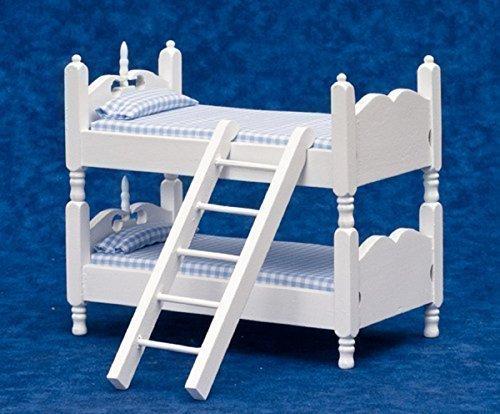 Miniatura Casa Delle Bambole scala 1:12 Arredamento Camera Letto Bianco In Legno Blu Percalle Letto A Castello