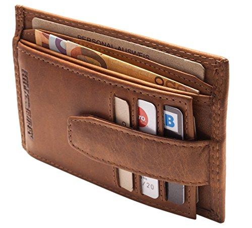 Hill Burry Echt-Leder Kredit-Kartenetui Geldbörse | Slim Portemonnaie - Brieftasche Portmonee Geldbeutel - Scheckkartenetui mit Münzfach | Wallet - Kartenbörse (Braun)