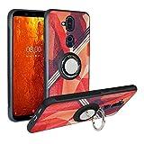 Alapmk Coque Nokia 8.1, [Fashion Pattern] Étui TPU, Coque De Protection Antichoc, Anti Rayure Cover avec Bague Support Compatible avec Nokia X7 2018,Rose Red