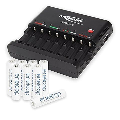 ANSMANN Powerline 8 Chargeur pour 1 à 8 piles rechargeables