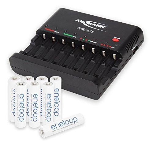 ANSMANN Powerline 8 Akku-Ladegerät Testsieger (Vergleich.org 08/2015) für 8x Mignon AA/Micro AAA Akkubatterien mit Entladefunktion + 8x Eneloop AAA Akku