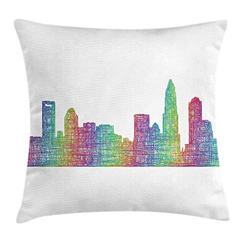 KAKICSA North Carolina Throw Pillow Cushion Cover, Contemporary Style Charlotte City Scene in Colorful Buildings USA Panorama, Decorative Square Accent Pillow Case, 18 X 18 Inches, Multicolor -
