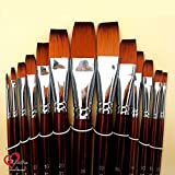 KABEER ART 13 Pc Flat Artist Quality Long Handle Painting Brush For Acrylic, Watercolor & Gouche Painting