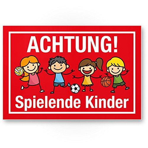 Achtung Spielende Kinder Kunststoff Schild (rot, 30 x 20cm), Hinweisschild, Warnzeichen, Warnschild langsam fahren, Warnung, Hinweis Spielstraße/Spielplatz - Vorsicht spielende Kinder (Kind Schild)