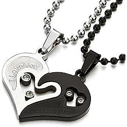 Un Par Amor Corazon Emparejado Collar Colgante con Circonita para Hombre Mujer Amantes Parejas Amigos, Acero Plata Negro