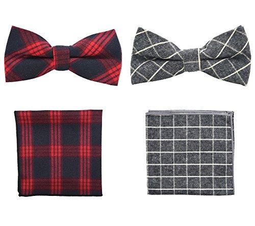Fliege mit Einstecktuch Set, Plaid Woven Pre-tied Einstellbare Mode Anzug Zubehör und Geschenk für Männer Frauen Kinder (Kostüme Männer X Frauen)