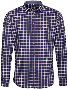 Gweih & Silk Trachtenhemd Body Fit Sepp Mehrfarbig in Blau, Rot und Hellbraun