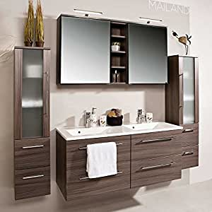 pharao24 badezimmerm bel set mit doppelwaschtisch eiche dunkel 4 teilig k che. Black Bedroom Furniture Sets. Home Design Ideas