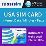 MOST SIM - AT&T USA SIM Card 10 Giorni, Alta Velocità Illimitata Dati/Chiamate/Messaggi, AT&T Network per gli USA