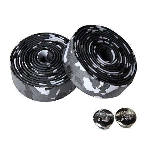 Broadroot Lenkerband für Rennrad, inklusive 2Endkappen, 2Stück, schwarz/weiß