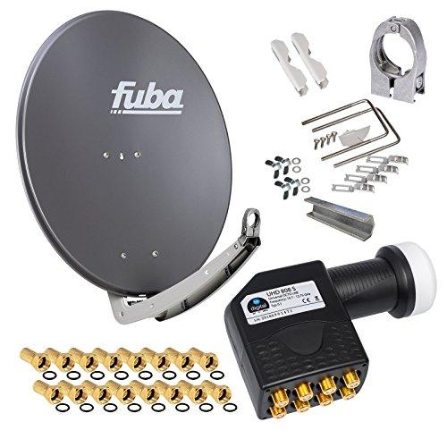 FUBA 78cm für 8 Teilnehmer (Direktanschluss) Digital SAT Anlage DAA780A + Octo LNB schwarz 0,1dB FULL HDTV 4K 3D + 16 Vergoldete F-Stecker und F- Montageschlüssel gratis dazu