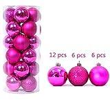 24pcs Rose 6CM Glitzer Weihnachten Kugeln Christmas balls Party Charme Festival Weihnachtskugeln Weihnachtsbaum Dekoration Ball hängende Verzierungen Aufhängen Ornament Hochzeit Dekor