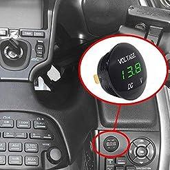 ZXX Auto Voltmetro Impermeabile con Display Digitale LED, Misuratore di tensione DC 12V-24V per Auto Moto Camion Camper (Verde)