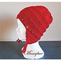 Bonnet cache-oreilles adolescente laine/acrylique rouge pompon pampille style péruvien hiver activité plein air idée cadeau Noël, Anniversaire, sport d'hiver, fait main au crochet