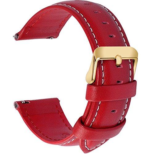 Fullmosa 12 Farben Uhrenarmband, Axus Serie Lederarmband Ersatz-Watch Armband mit Edelstahl Metall Schließe für Herren Damen 22mm,Rot mit golden Schnalle