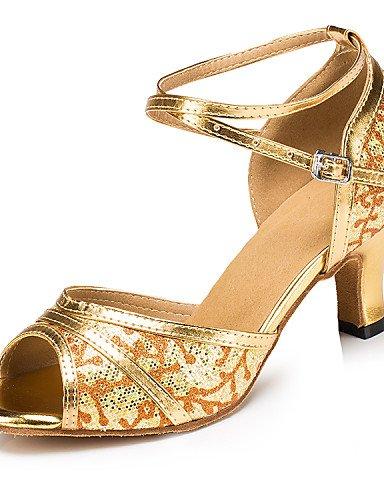 La mode moderne Sandales femmes personnalisables Latin/Salsa/Ballroom Dance Shoes Gold/Silver Glitter mousseux / similicuir personnalisée sandales US8.5 / EU39 / UK6.5 / CN40