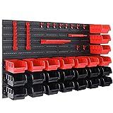 Deuba Wandregal mit Stapelboxen und Werkzeughalter 45 tlg Box Erweiterbar Werkstattregal Werkzeuglochwand