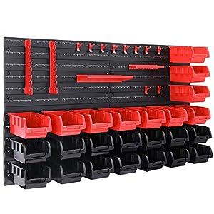 Deuba Estantería de bricolaje con cajas ganchos y portaherramientas color Rojo y Negro 45 piezas organizador para taller